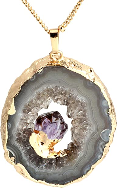 Druzy Agate Pendant with Amethyst Point Freeform Amethyst Point Natural Stone Agate Slice Gold Plated Amethyst Druzy Pendant Slice