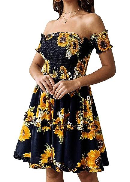 d3b31c740ddeb KIRUNDO Women's 2019 Summer Off Shoulder High Waist Floral Printed Beach  Mini Shift Dress