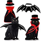 Pet Costumes Cat Cosplay 3 PCS, Vampire Cloak with Bowler Hat Bat Wings Pet Cosplay Costumes for Small Cats Funny…