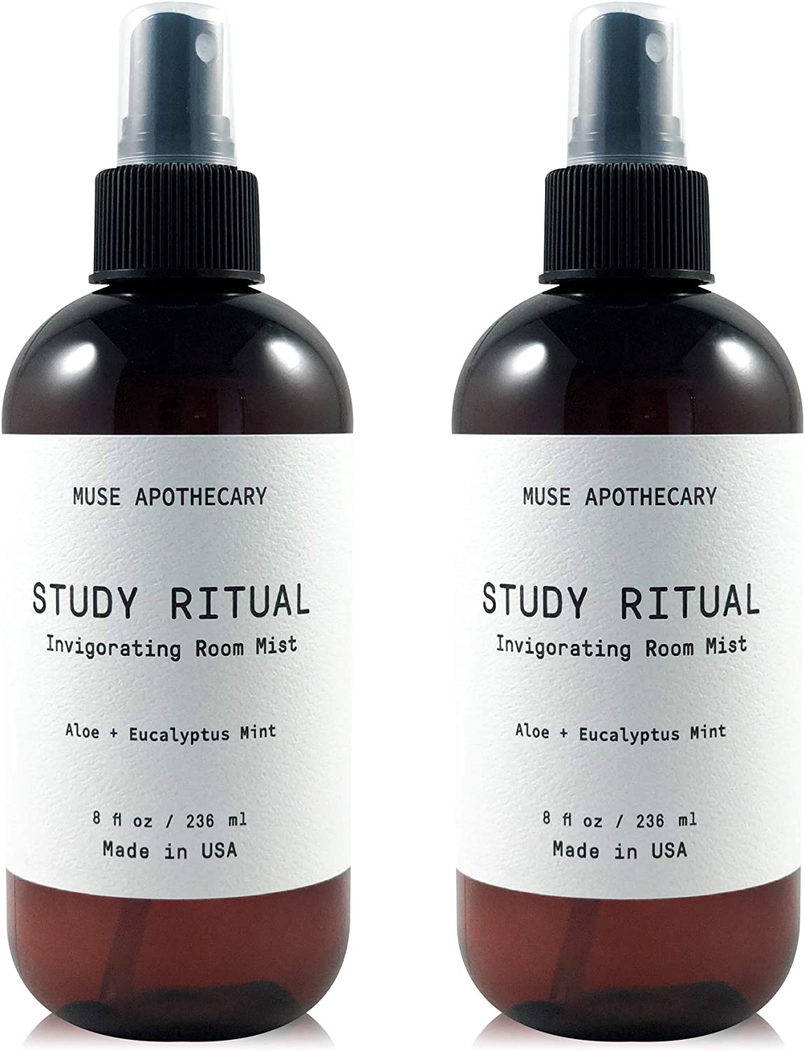 Muse Bath Apothecary Study Ritual - Aromatic and Invigorating Room Mist, 8 oz, Infused with Natural Essential Oils - Aloe + Eucalyptus Mint, 2 Pack