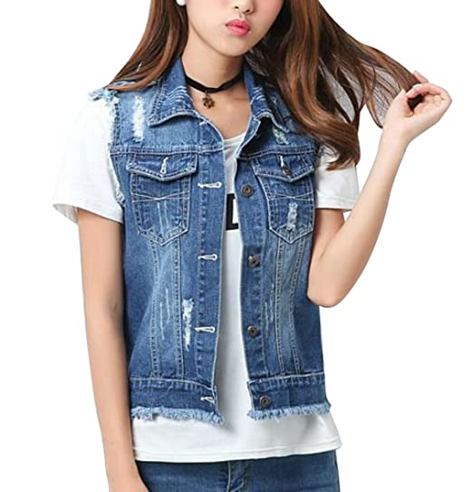 84cecf5fe0f0d8 MMCP-Women Ripped Cutoff Short Croped Denim Vest Sleeveless Jean Jacket Coat  1 XXS