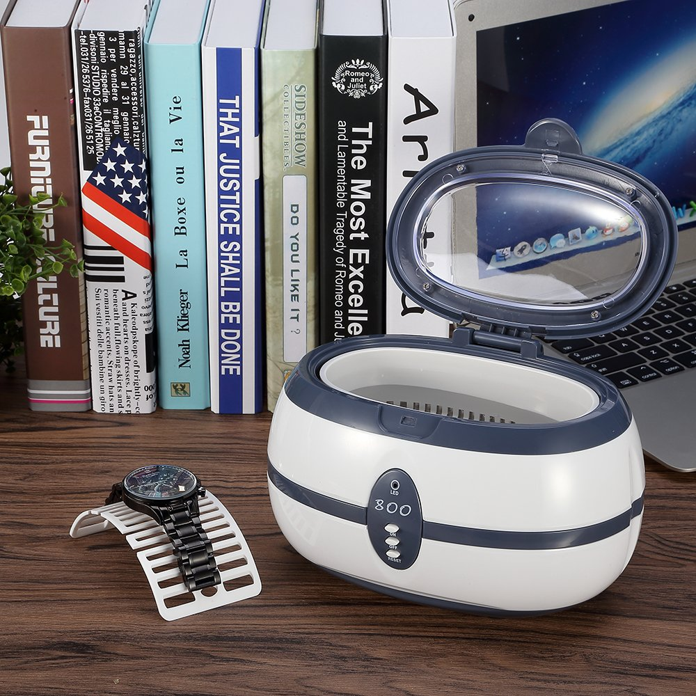 Ultrasonic Cleaner 600ml Digital Jewellery Glass Cleaner Washing Machine with Stainless Steel and Tank Timer Setting Watch Stand for Silver Metal Tool Watch Salon Beauty Cleaning Equipment