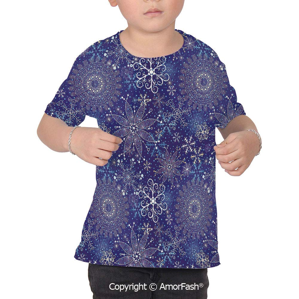 Dark Blue Childrens Classic Basic Printed Ultra Comfortable T-Shirt,Christmas