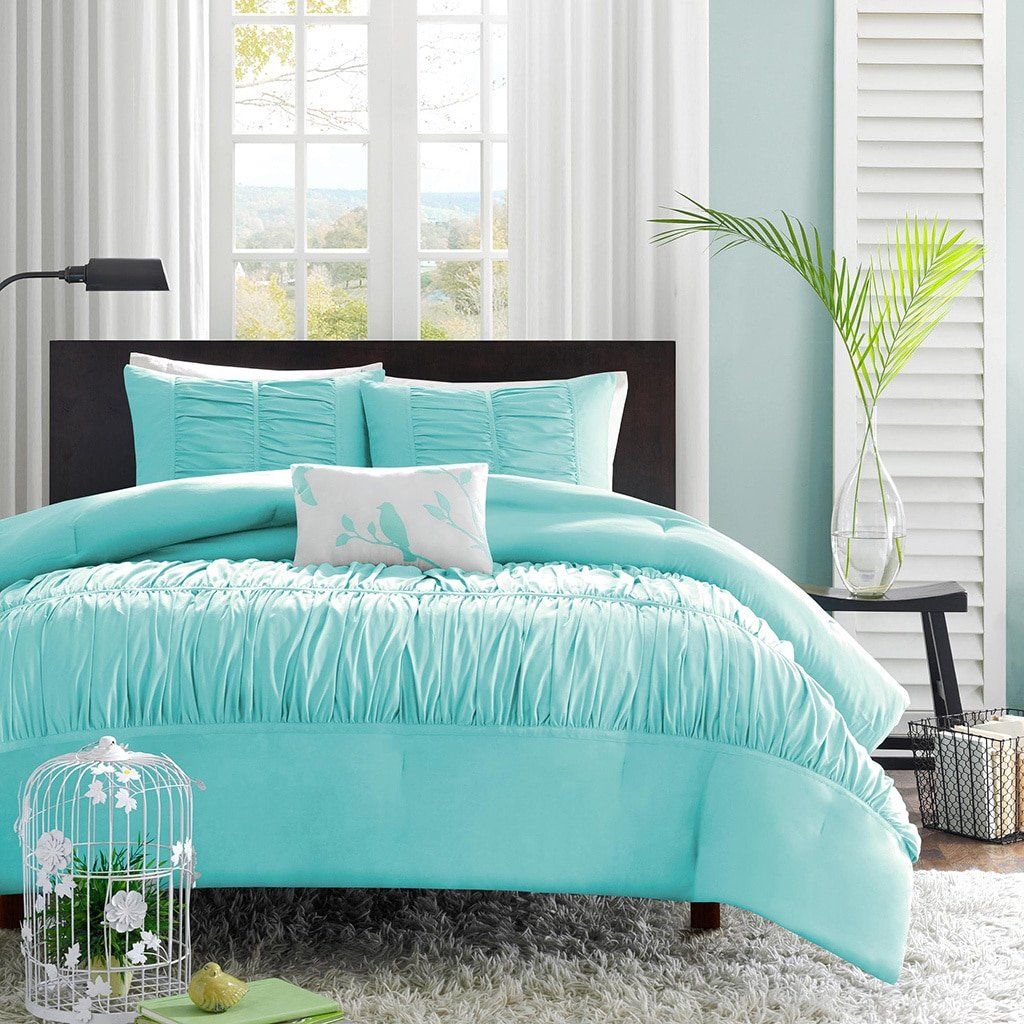 amazoncom turquoise blue aqua girls full queen comforter set 4 piece bed in a bag home kitchen - Turquoise Bedding