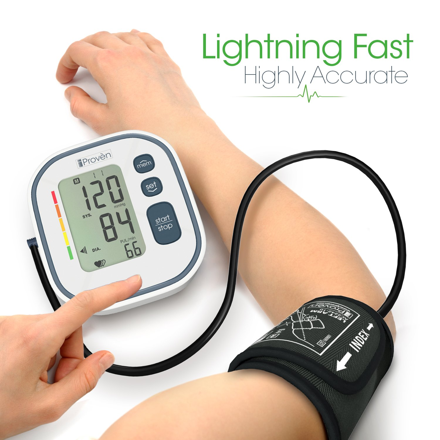 Digital Automatic Blood Pressure Monitor - Upper Arm Cuff - Large Screen - Accurate & Fast Reading Electronic Machine - Top Rated BP Monitors and Cuffs - FDA Approved - iProvèn BPM-634 - for Home Use by iProvèn (Image #3)