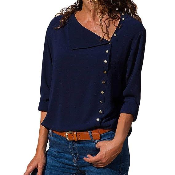 Yying Camisa De Blusa para Mujer Camisa De Manga Larga Sólida Suelta Casual Azul Oscuro S