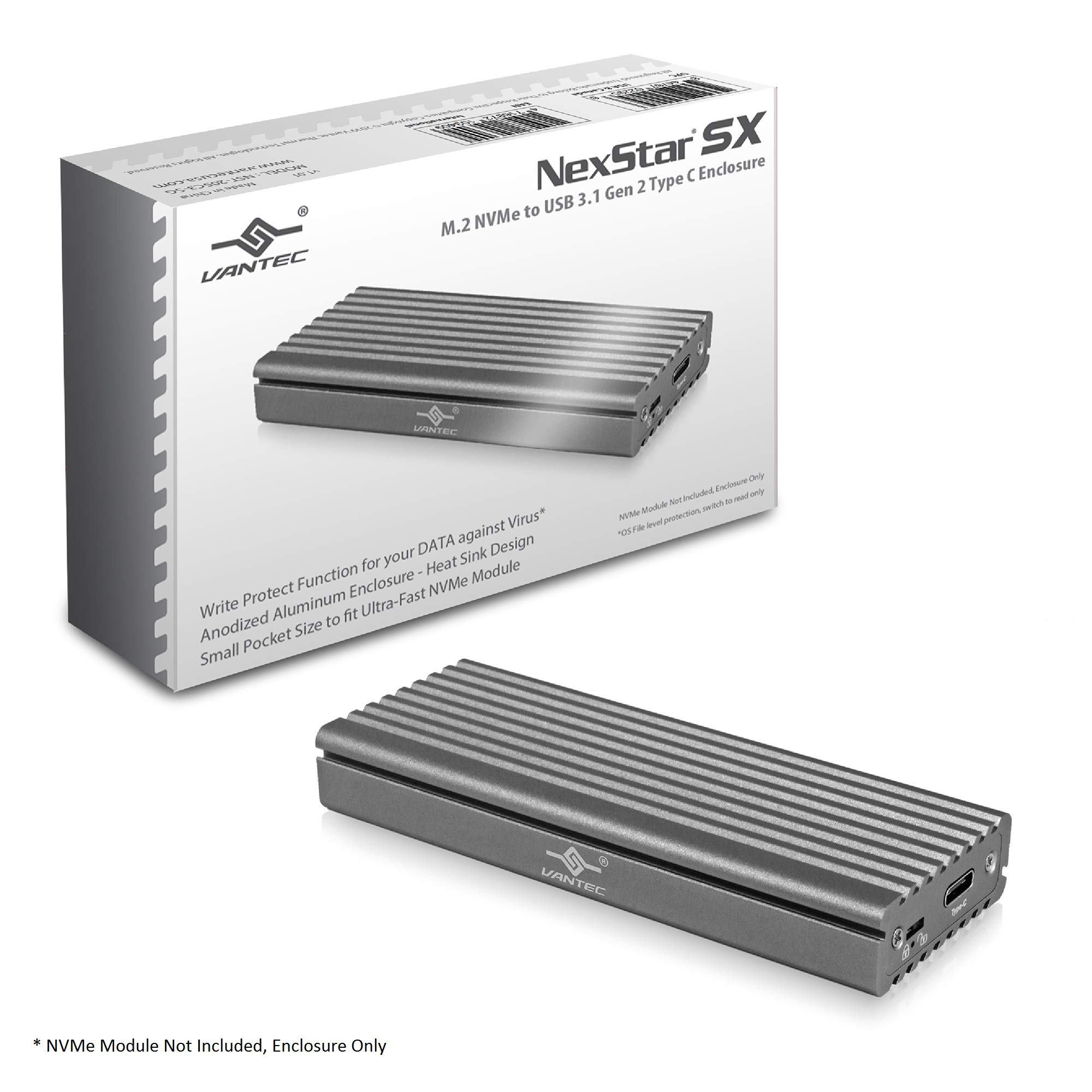 Vantec M.2 Nvme SSD to USB 3.1 Gen 2 Type C Enclosure with C to C Cable, Space Gray Color, ID5 (NST-205C3-SG) by Vantec