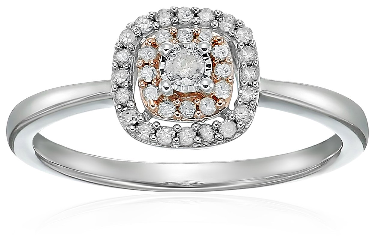 Sterling Silver with Pink Plating, Diamond Ensemble Anniversary Ring (1/5 cttw,I-J Color, I3 Clarity), Size 7