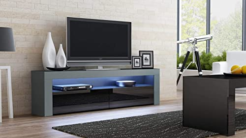 MEBLE FURNITURE RUGS Milano Classic Modern TV Stand 63 Width Gray Black