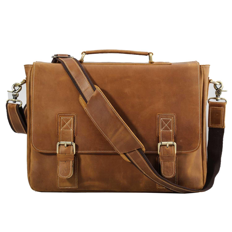Polare Vintage Genuine Leather Tote Briefcase Professional 16'' Laptop Shoulder Messenger Bag 6792978