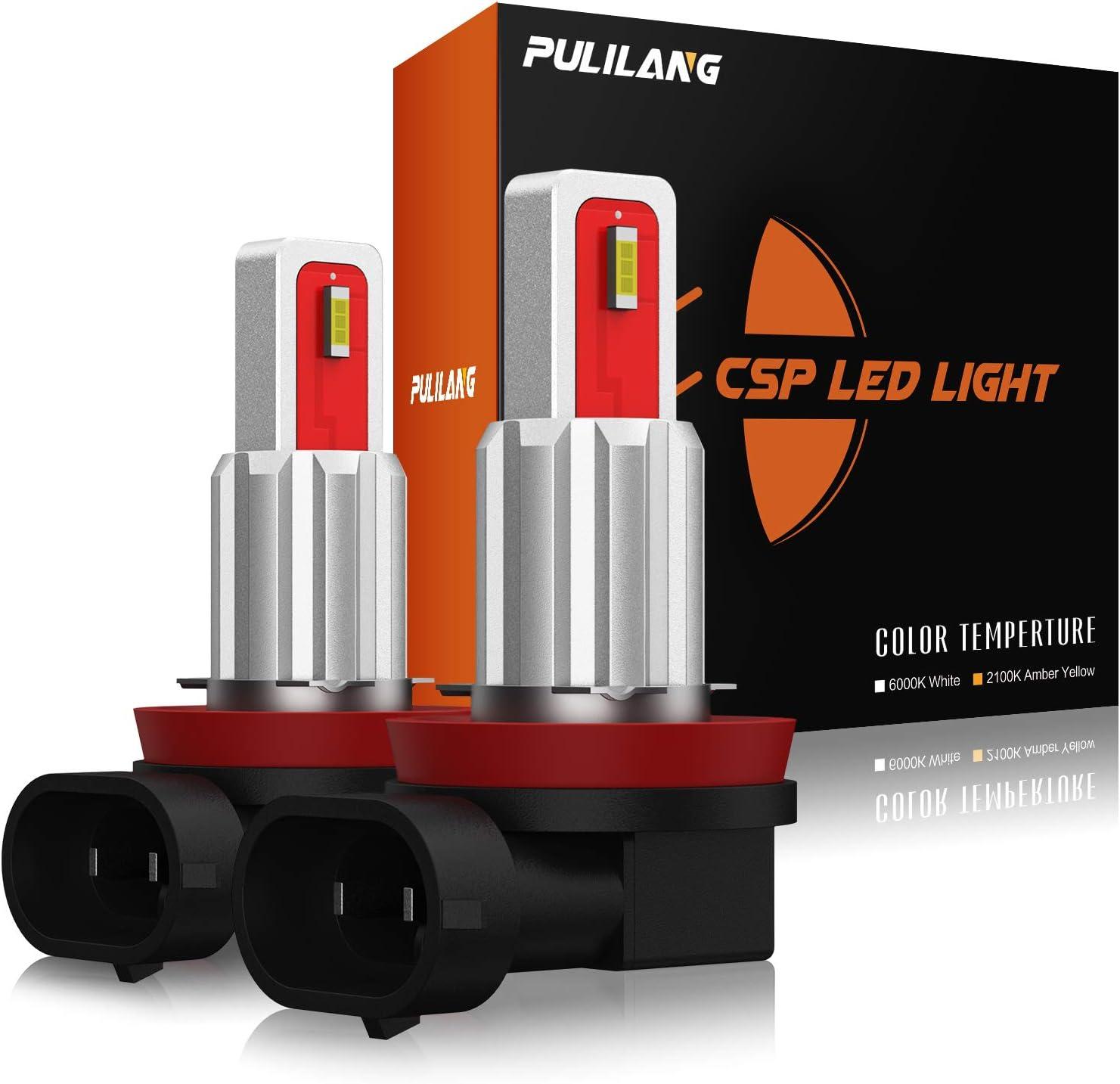 Pulilang Bombillas LED Antiniebla H11 H8 H11LL H8LL H16(JP) CSP Chips 6000K Xenón Blanco de Conducción Diurna Lámparas Antiniebla DRL, 12-24V Sin Polaridad 40W 5000LM, 2 Lámparas