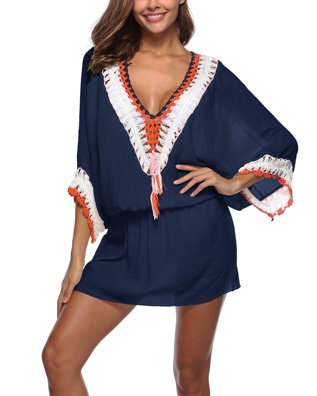 LOVEJIE Women's Bathing Suit Cover up Beach Bikini Swimsuit Swimwear Pompom Tassel Trim Dress (Navy Blue)