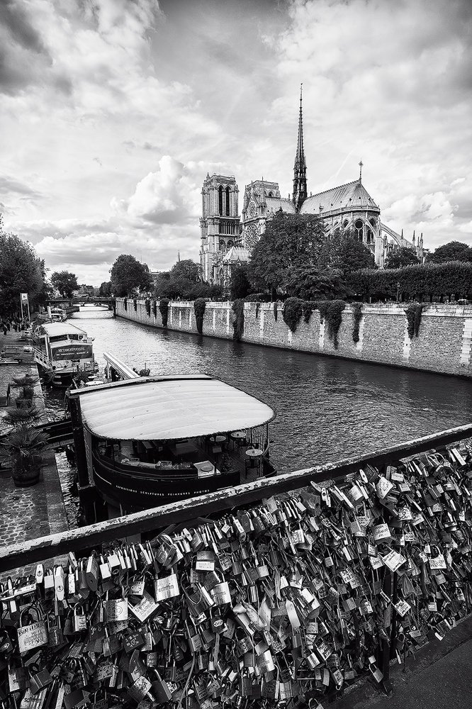 ''Love Locks'' Fine Art Print, Paris, Bridge, Notre Dame Cathedral, Black and White, Romantic, Seine River, France - Travel Photography, Print, Wall Art