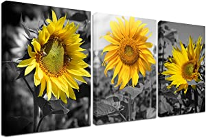 Sunflower Pictures Wall Decor - Yellow Flower Picture Bee Wall Art Home Office Decorations Nature Painting Black Yellow Sunflower Canvas Prints for Living Room Bathroom Dining Room Framed 12x16inch
