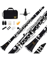 Eastar B Flat Clarinet Black Ebonite Clarinet Bb With Mouthpiece,Case,2 Connector,8 Occlusion Rim,Clarinet Stand,3 Reeds and More Keys