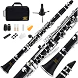 Eastar B Flat Clarinet Black Ebonite Clarinet Bb With Mouthpiece,Case,2 Connector,8 Occlusion Rim,Clarinet Stand,3 Reeds…