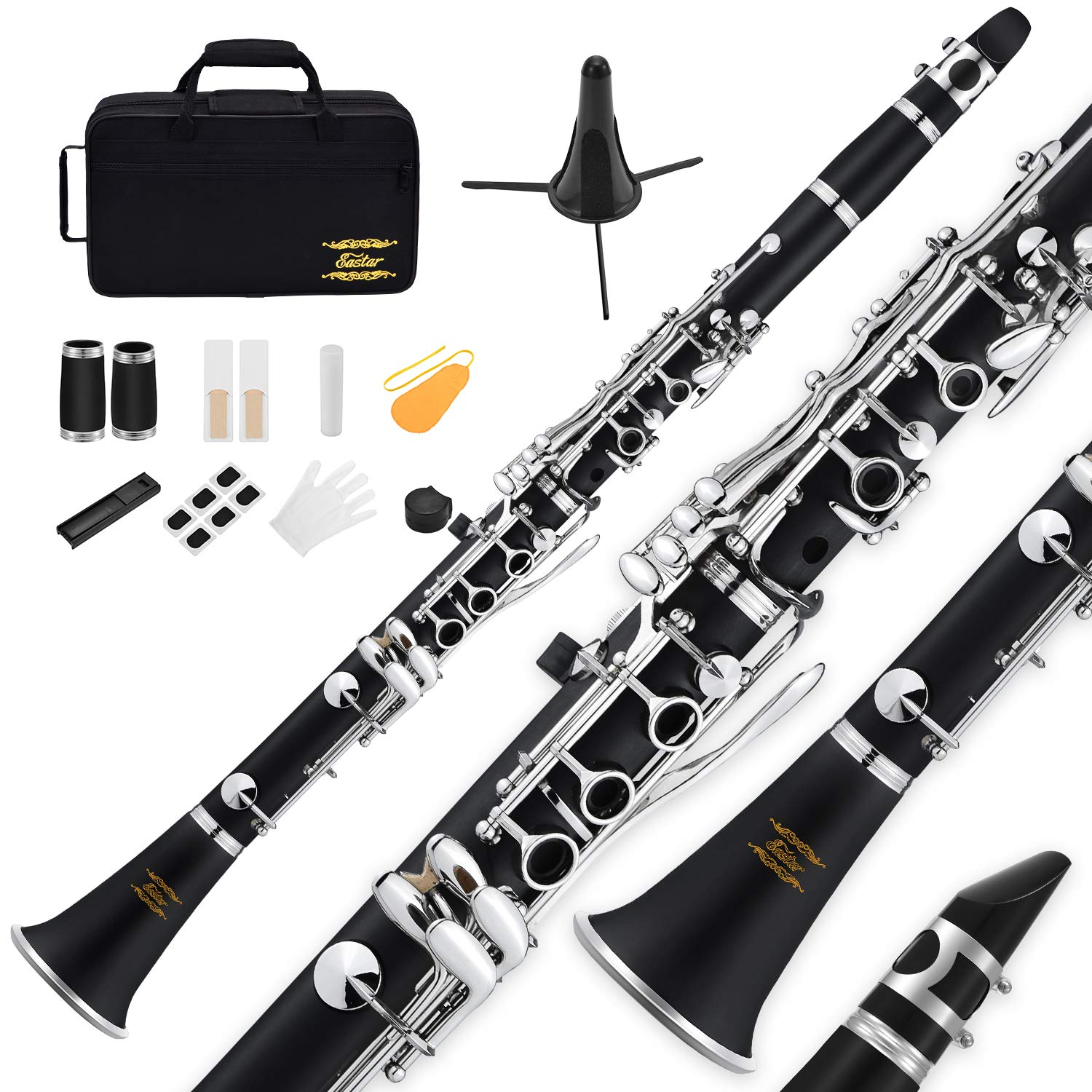 Eastar B Flat Clarinet Black Ebonite Clarinet With Mouthpiece,Case,2 Connector,8 Occlusion Rim,Clarinet Stand,3 Reeds and More Keys by Eastar