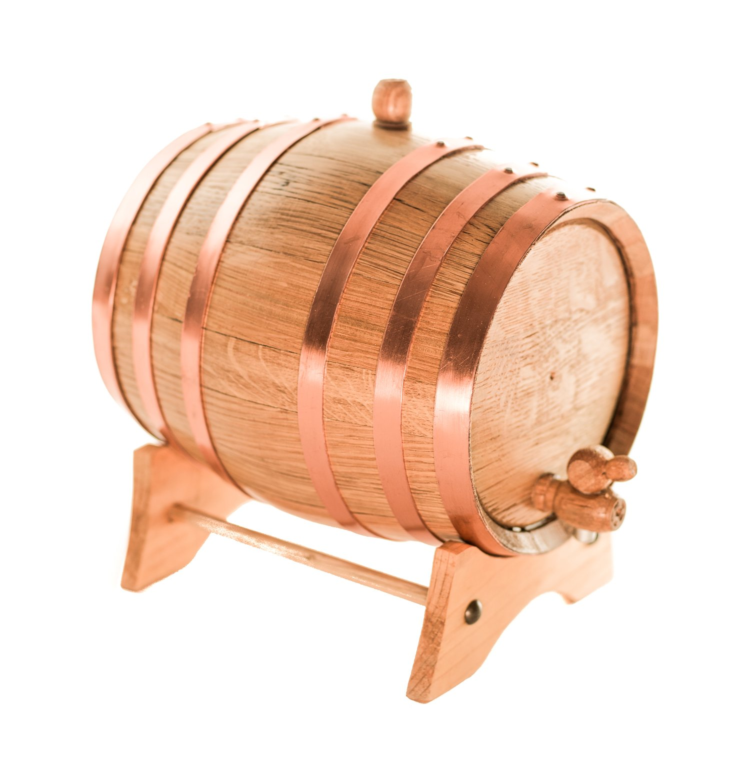 American Oak Aging Barrel | Handcrafted using American White Oak | Age your own Whiskey, Beer, Wine, Bourbon, Tequila, Hot Sauce & More (5 Liter or 1.32 Gallon, Copper Hoops)