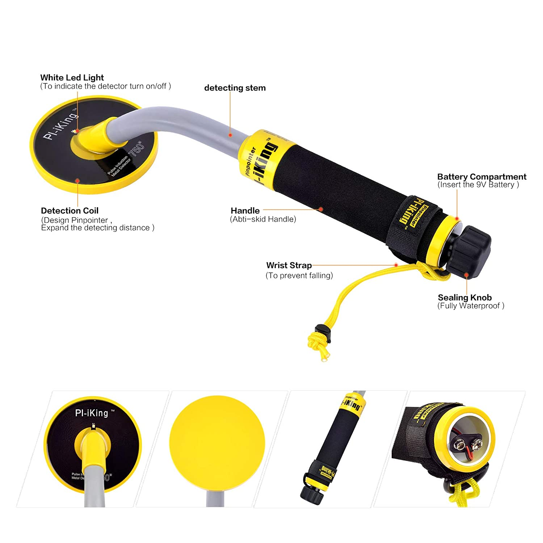 750 Underwater metal detector con detección de vibración y pantalla LCD Indicador - Pi impermeable sonda pulso inducción tecnología detector de metales ...