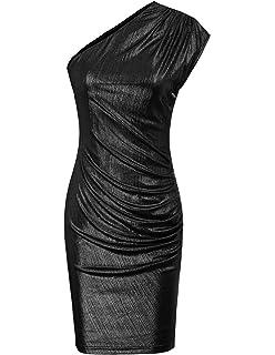b4379cf89b5 GRACE KARIN Womens One Shoulder Metallic Glitter Cocktail Dress Mini  Bodycon Dress