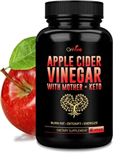 ONVIVE - 100% Natural Raw - Apple Cider Vinegar - with The Mother for Fast Weight Loss Cleanse Appetite Suppressant and Bloating Relief, Perfect for Both Men and Women (60 Capsules)