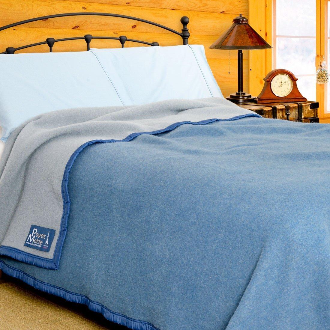 Poyet Motte Aubisque 500GSM Heavyweight 100-Percent Wool Blanket (Twin, Blue/Lt Blue)