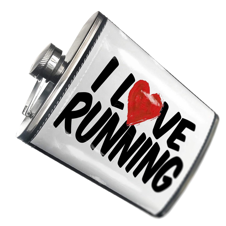 8オンスフラスコステッチI Love Runningステンレススチール – Neonblond   B00QQVG790