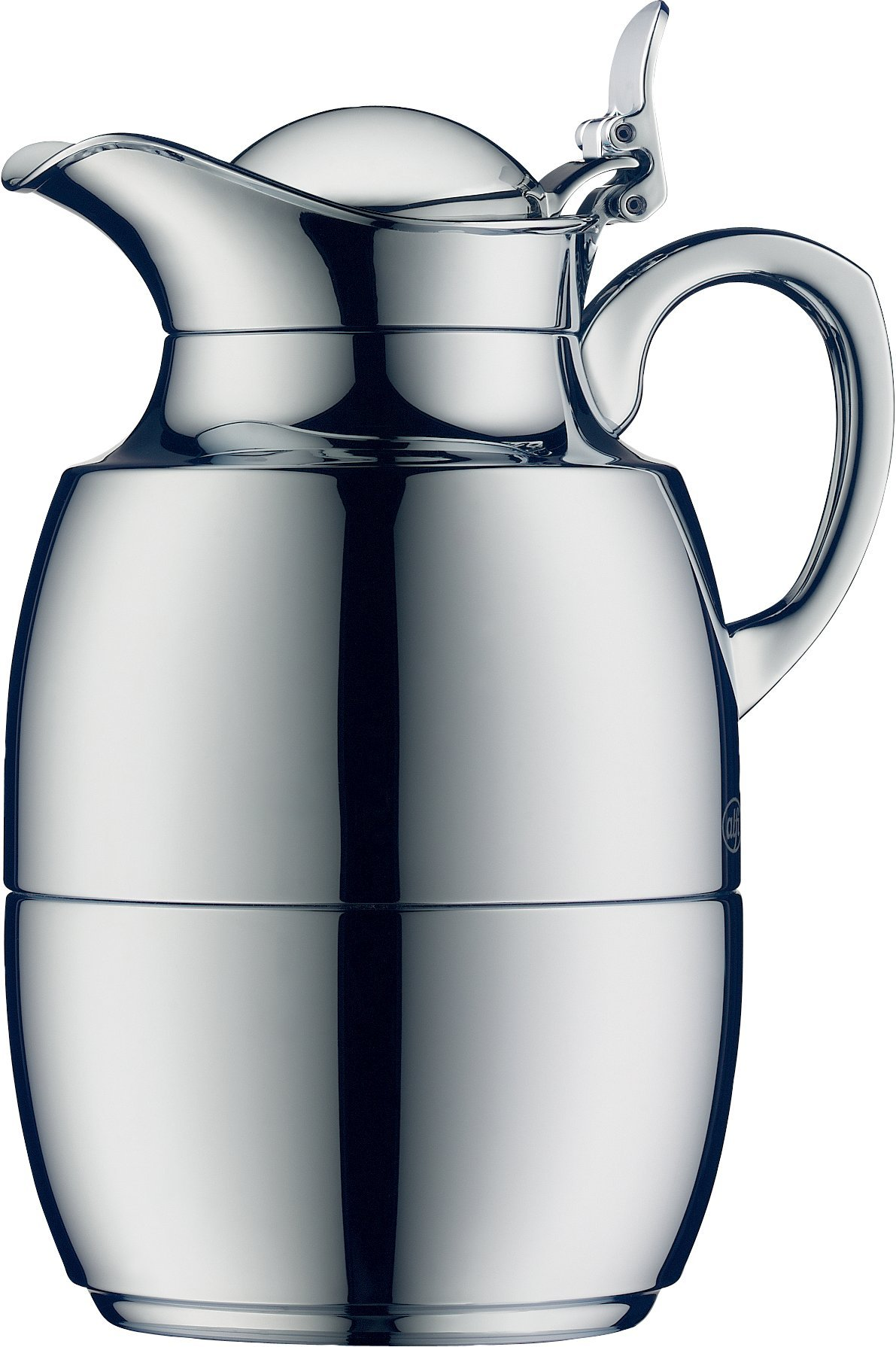 alfi Juwel Glass Vacuum Chrome Plated Brass Thermal Carafe for Hot and Cold Beverages, 0.5 L, Chrome