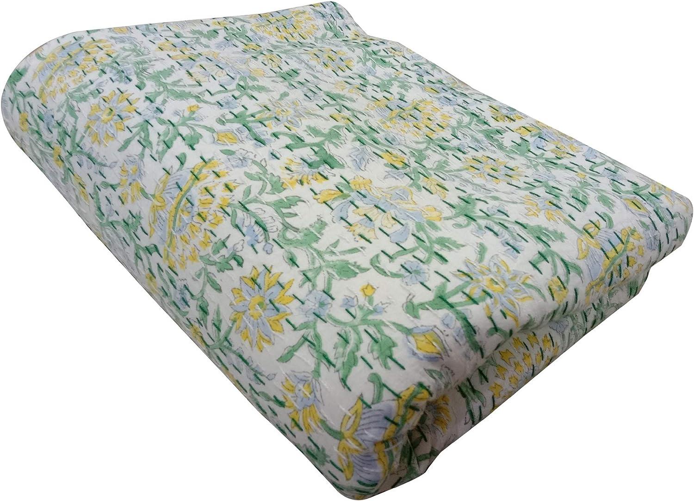 Indigo Print Designer Beautiful Home Decorative Bed Cover Beach Throw Cotton Blanket Ralli Gudri Queen Size Hand Stitched Kantha Quilt