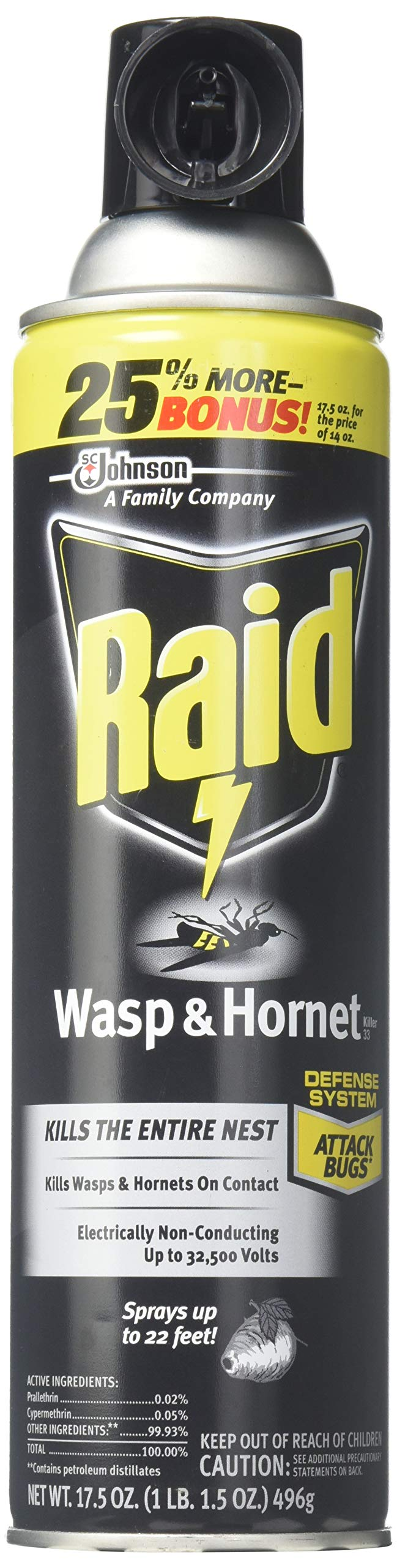 Raid Wasp & Hornet Killer 33 Spray, 14 Ounce (3 Pack)