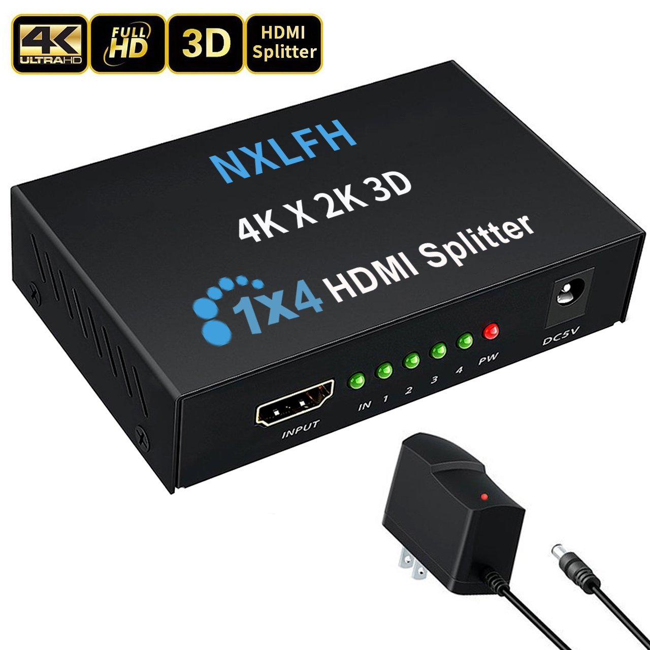 HDMI Splitter, 1 Input to 4 Outputs Hdmi Splitter Hdmi Signal Splitter 1 Port HDMI Powered Splitter Certified for Full HD 1080P &4Kx2K 3D Support[2018 Version] by NXLFH