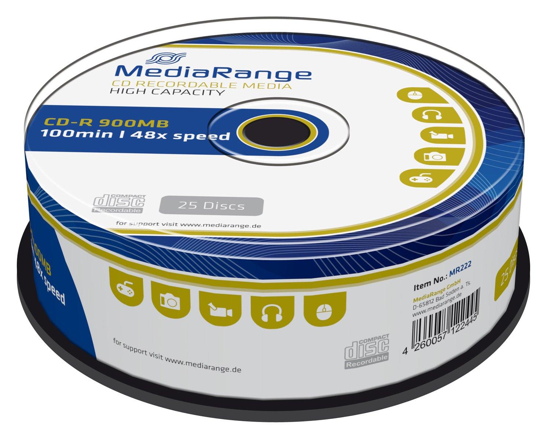 CD-R 100 Min/900 MB MediaRange in Cakebox de 25