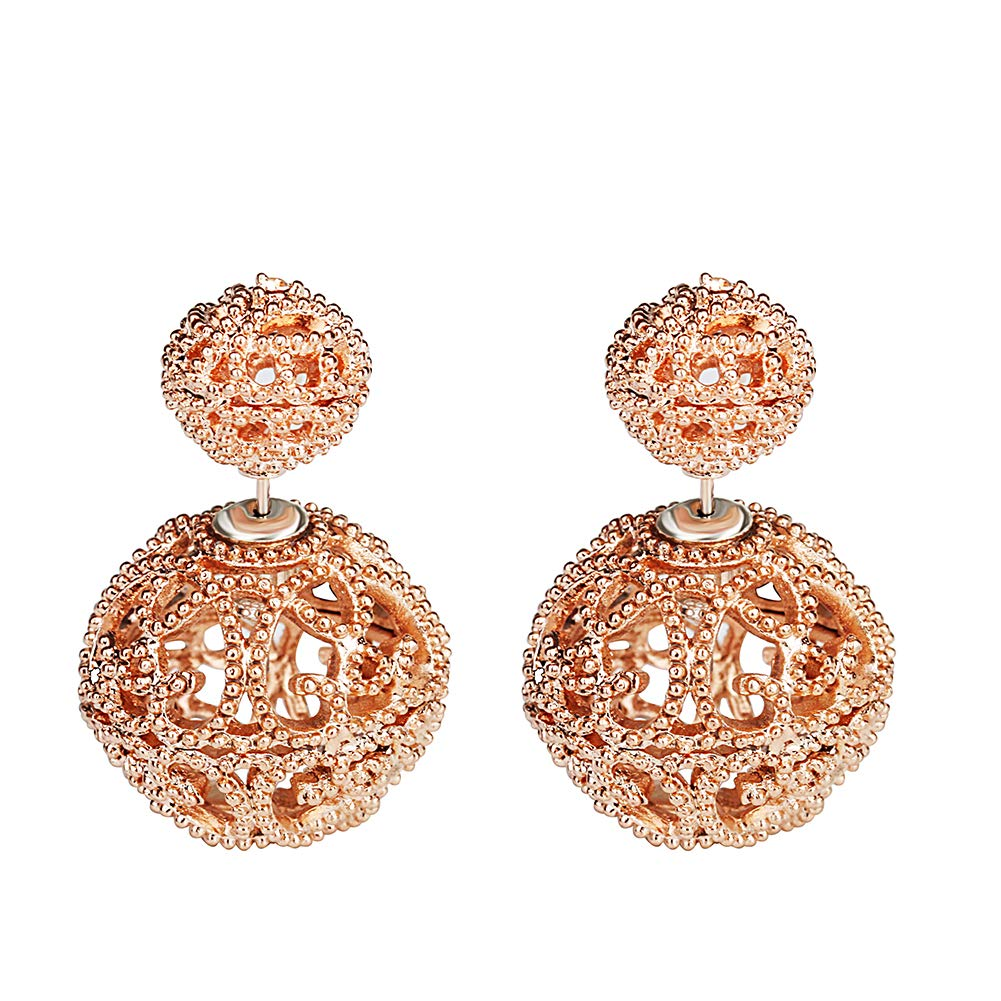 SheLian Vintage Hollow out Womens Double Side Round Ball Stud Earrings(Rose Gold Tone)