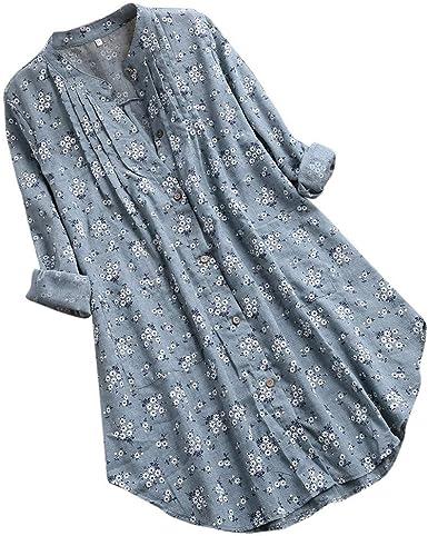Camisa de Mujer de Lino de Manga Larga, Blusa para Mujer, Talla Grande, Estampado Floral, Slim Fit, Camisas de Primavera, Verano, Informal, Camiseta Verde 5X-Large: Amazon.es: Ropa y accesorios