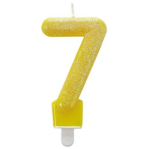 Vela de cumpleaños número 7 con purpurina de 7,6 cm Amscan ...