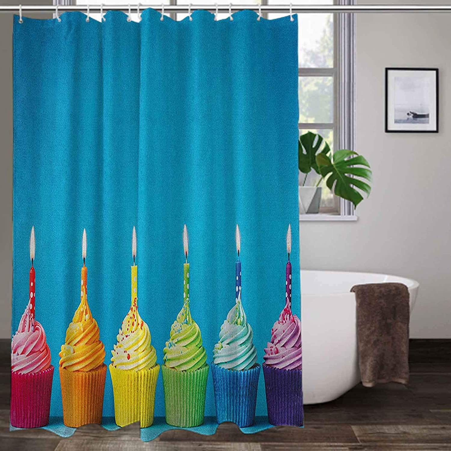 Shower Curtain Liner 72 x 84 Inch, Birthday Bathroom Decor Curtain - Cupcakes in Rainbow Colors with Candles Fun Homemade Party Food Sweet Delicious, Multicolor