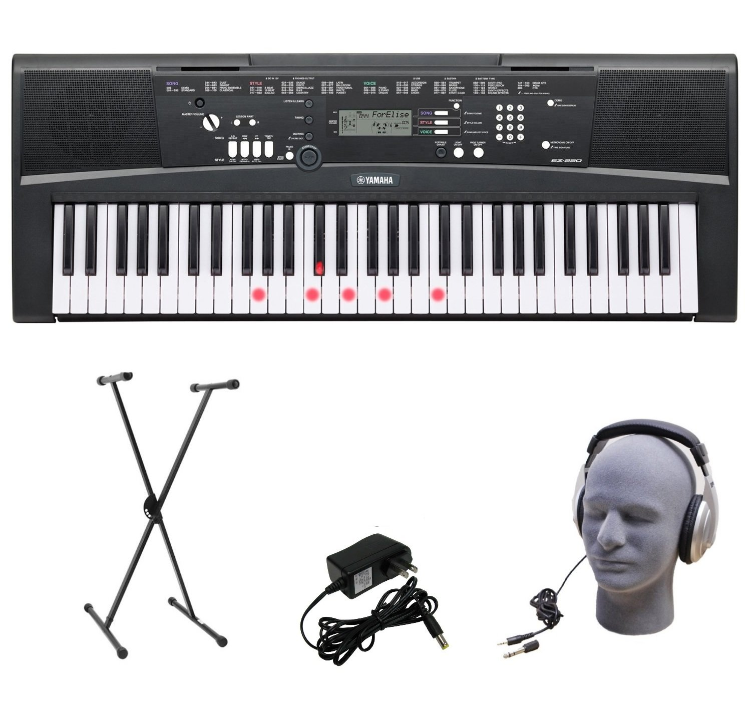 Yamaha EZ-220 61-Lighted Key Portable Keyboard Package with Headphones, Stand and Power Supply by YAMAHA