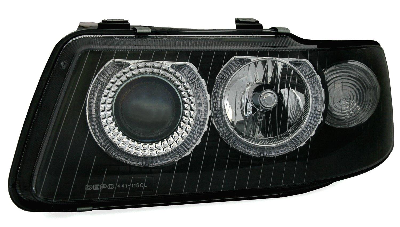 Colore Nero kg 960354 in Vetro Trasparente AD Tuning GmbH /& Co,Set di fari Angel Eyes