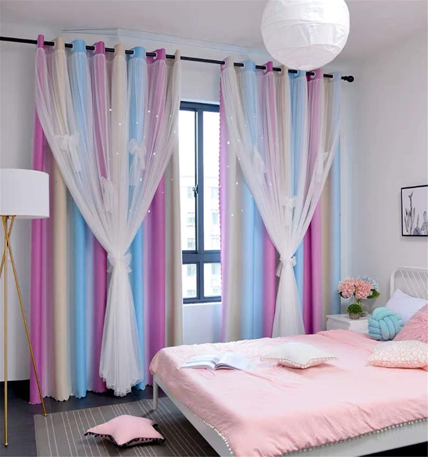 Room Darkening Blackout Star Kids Curtains 63 inches Long Lace Drapes 2 Layers Window Panels Bedroom Living Room Divider (Pink Blue, W52 X L63)