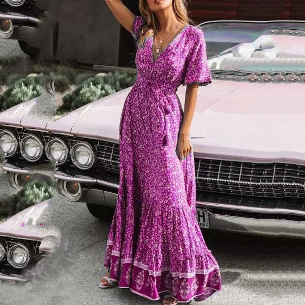 Serzul Women's Elegant Vintage Maxi Dress Short Sleeve Deep V-Neck Dress Print Tassel Buttons Dress Hot Pink by Serzul Women Dress (Image #3)
