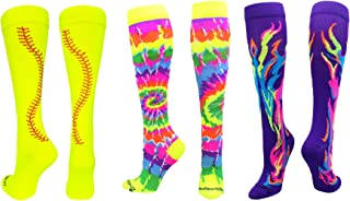 product image for MadSportsStuff Softball Socks with Stitches - for Girls or Women - Knee High Length
