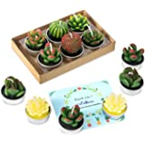 12 Pcs Cactus Candles, Handmade Delicate Succulent Cactus Candles Perfect Cactus Tealight Candles for Birthday Party,Wedding, Spa, Home Decor Birthday Wedding Party