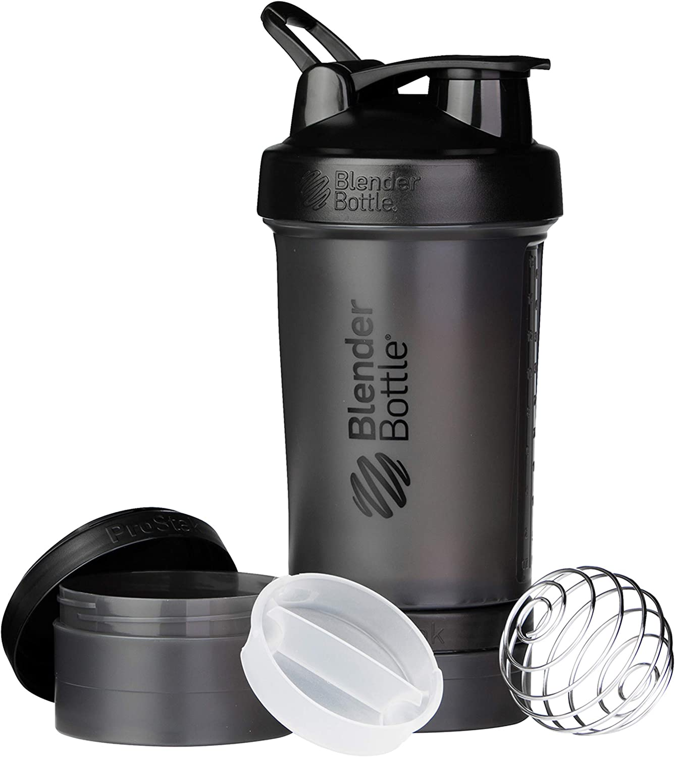 Blender Bottle ProStak System with 450ml Bottle and Twist n' Lock Storage, 22oz, Black