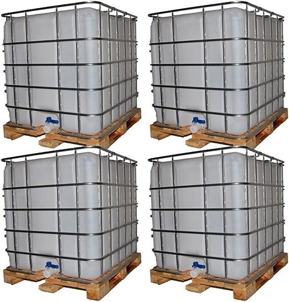 Tanque de 4 x 1000 L Container paleta de madera en estado de segunda mano, limpieza de alta presión: Amazon.es: Bricolaje y herramientas