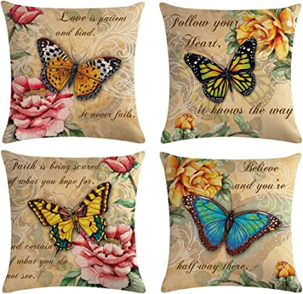 Ulove Love Yourself Butterfly Pattern Throw Pillow Covers Vintage Style Home Decorative Cushion Cover Yellow Pink Flowers Pillowcase 18 18 4pack Butterfly Pattern Amazon Co Uk Kitchen Home