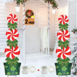 FLY HAWK Christmas Outdoor Decorations, 2 Pack, 47in Candy Xmas Yard Stakes Signs with String Lights Weather Resistant Holiday New Year Home Decor for Lawn Yard Patio Halloween