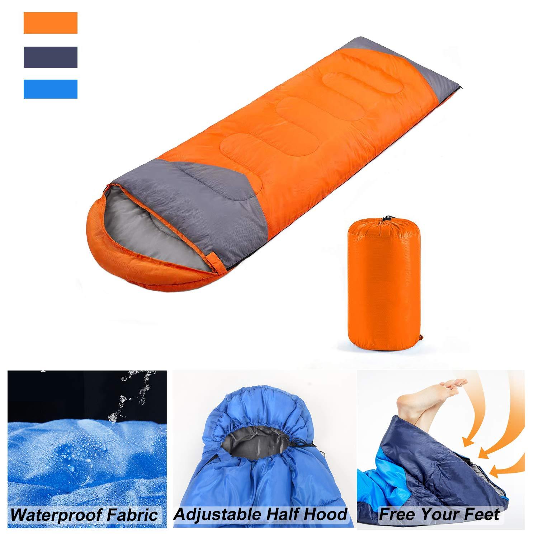 Waterproof,Comforable for 3 Season Hiking Lightweight Camping Traveling YOUMAKO Backpacking Sleeping Bag for Adults /& Kids