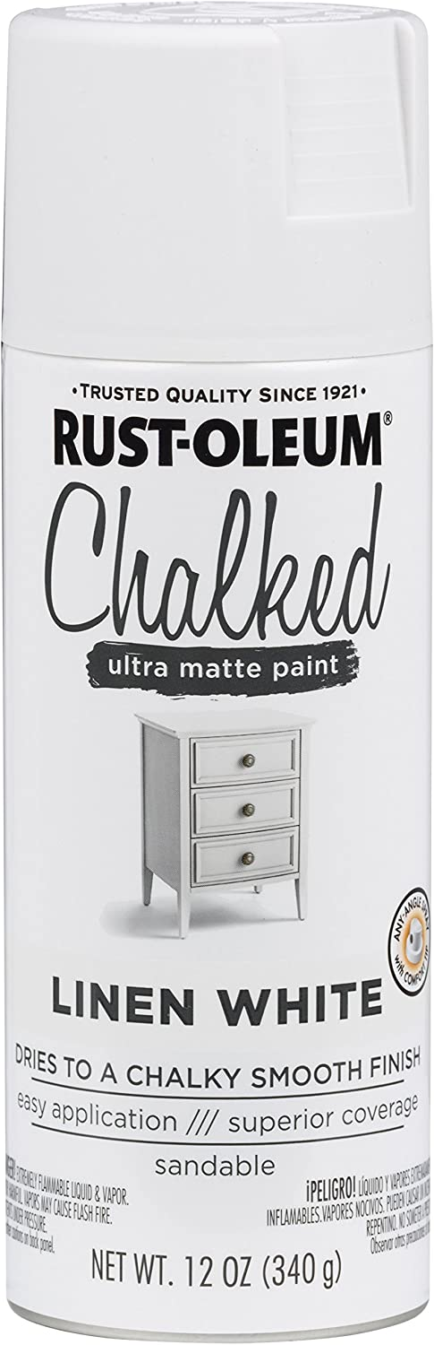 Rust-Oleum 302591 Chalked Spray Paint, 12 oz, Linen White/White