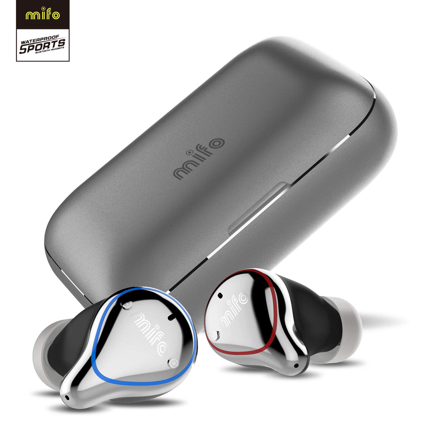 Wireless Earbuds, Mifo O5 Bluetooth 5.0 IPX7 Waterproofed Bluetooth Earbuds with 100 Hours Playtime, Hi-Fi Sound Wireless Headphones, Built-in Mic Bluetooth Earbuds with 2600mAH Portable Charging Case