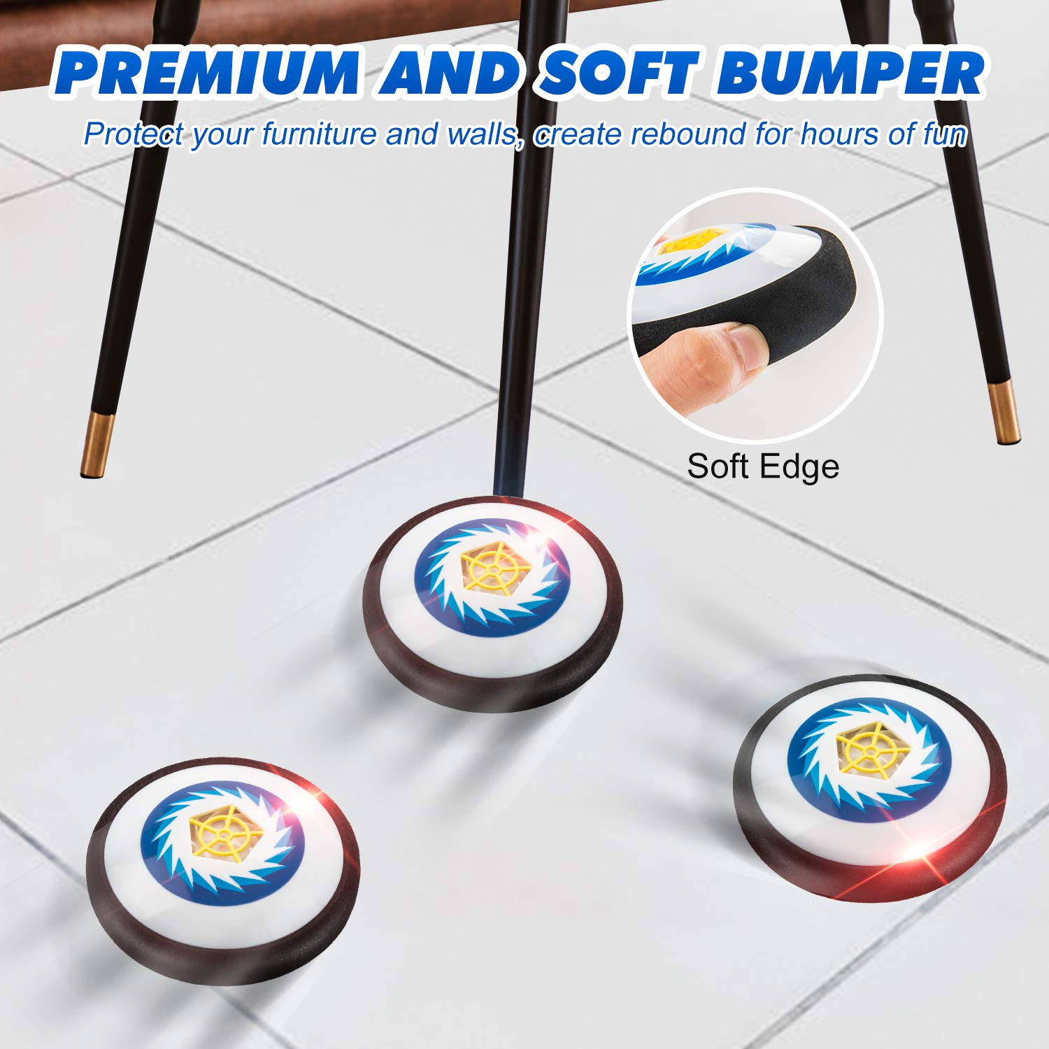 Kids Toys Hover Hockey Set- Hovering Hockey Toys with Foam Bumper for Indoor Games, Air Power Training Ball Playing Hockey Game,Hockey Game Toys for 3 4 5 6 7 8 9 10 11 12 Year Old Boys Girls